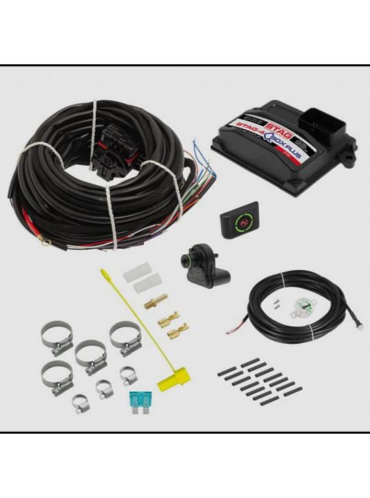 Электроника STAG- 4 Q-BOX Plus, 4 цил., разъем тип Valtek,  ДТР  фильтр проводка, LED-401